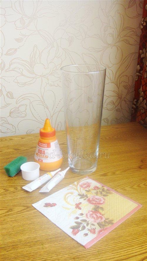 1 Декупаж стеклянной вазы: мастер-класс и пошаговая инструкция, как за декорировать сосуд своими руками