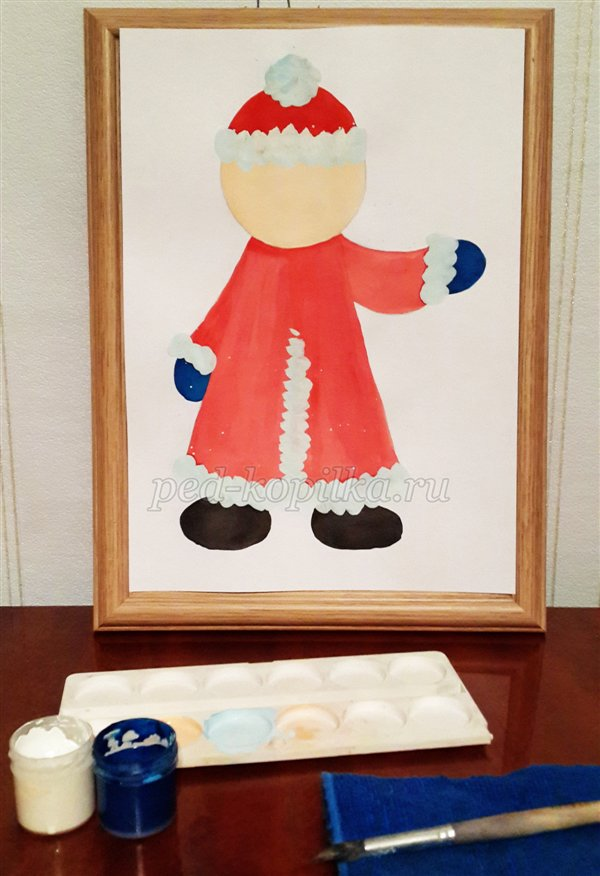 Урок рисования Деда Мороза для детей 6-7 лет