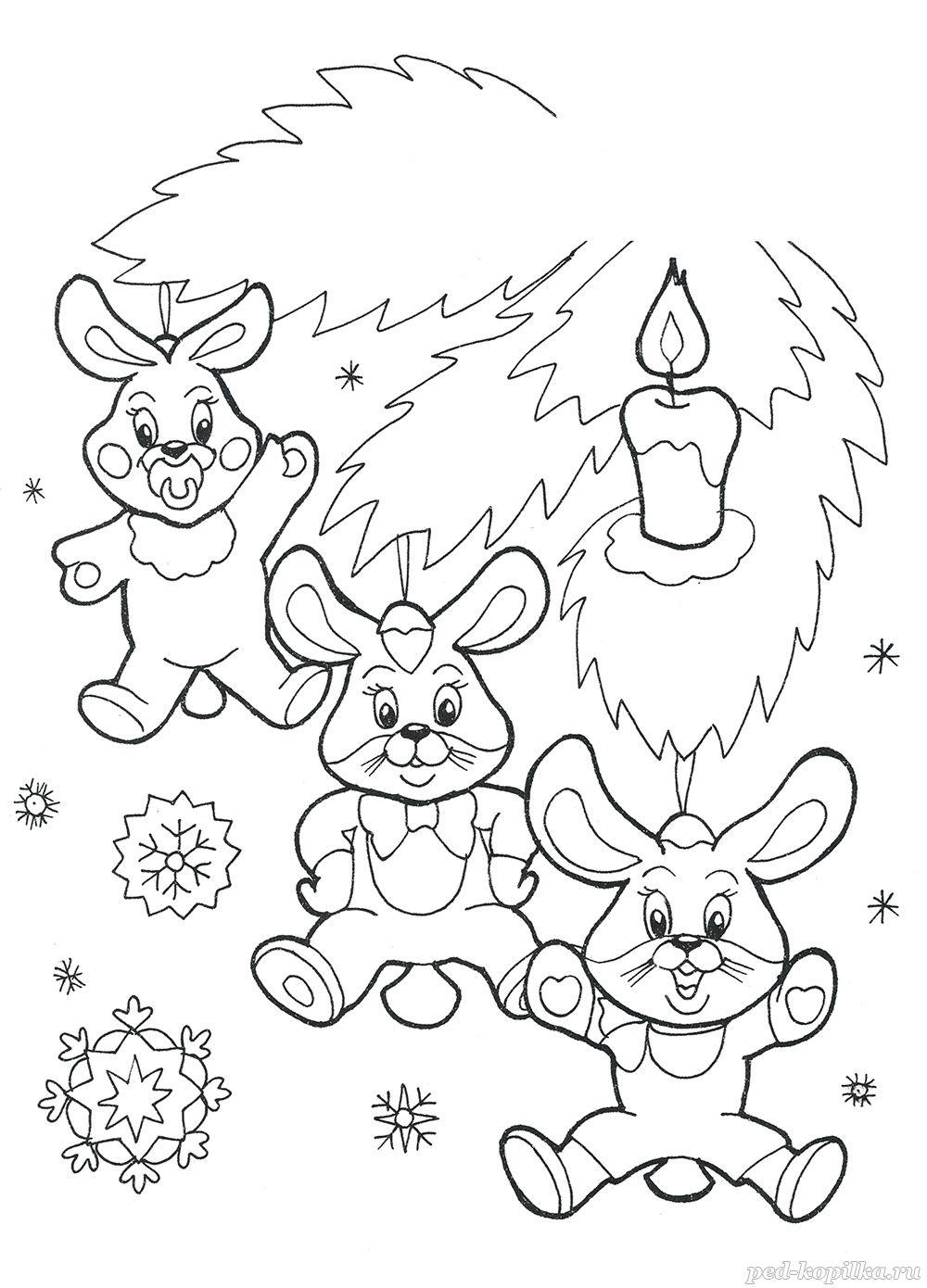 раскраска для детей 5 8 лет новогодние игрушки зайчики