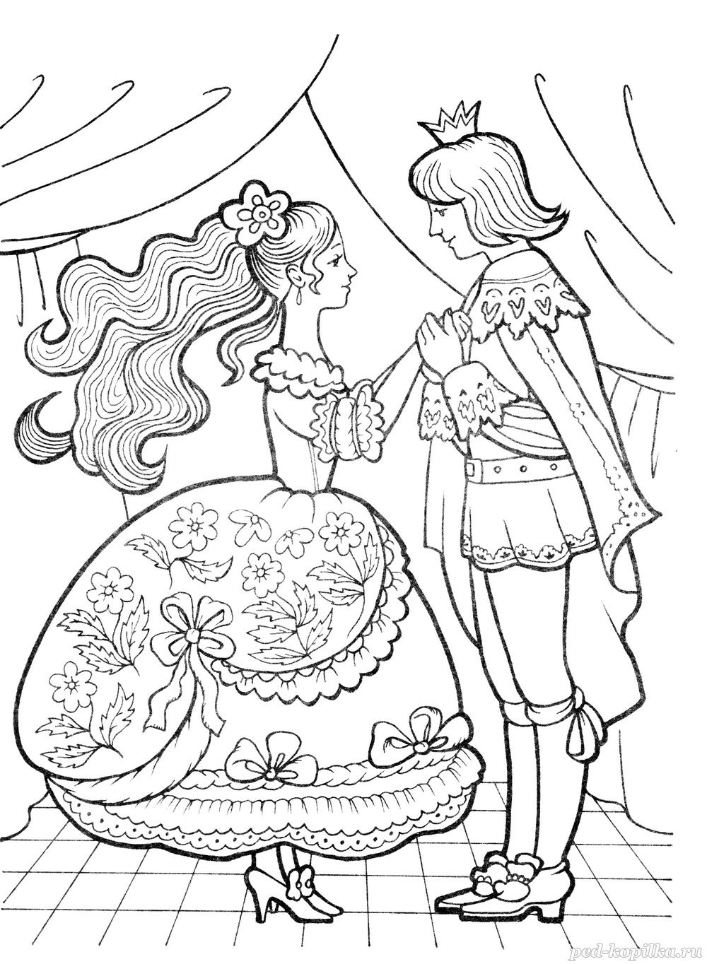 раскраска принц и золушка