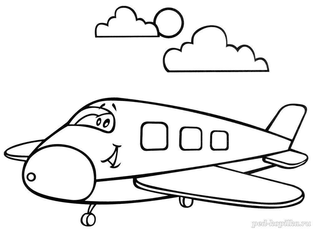 раскраска для малышей самолёт