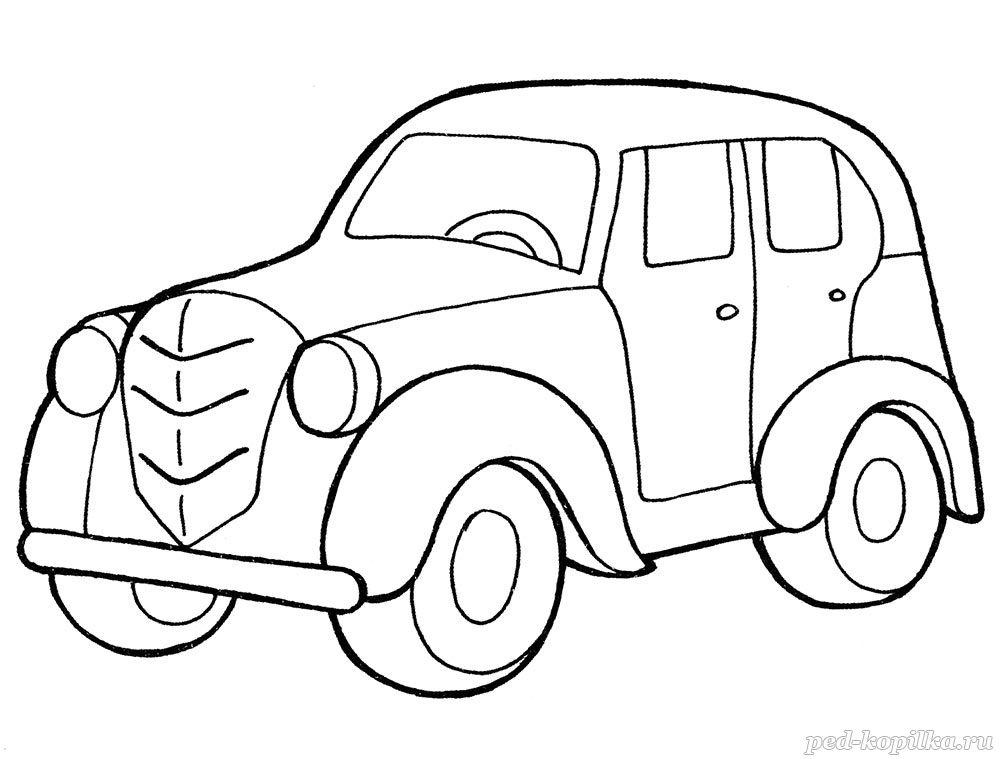 раскраска для детей ретро автомобиль