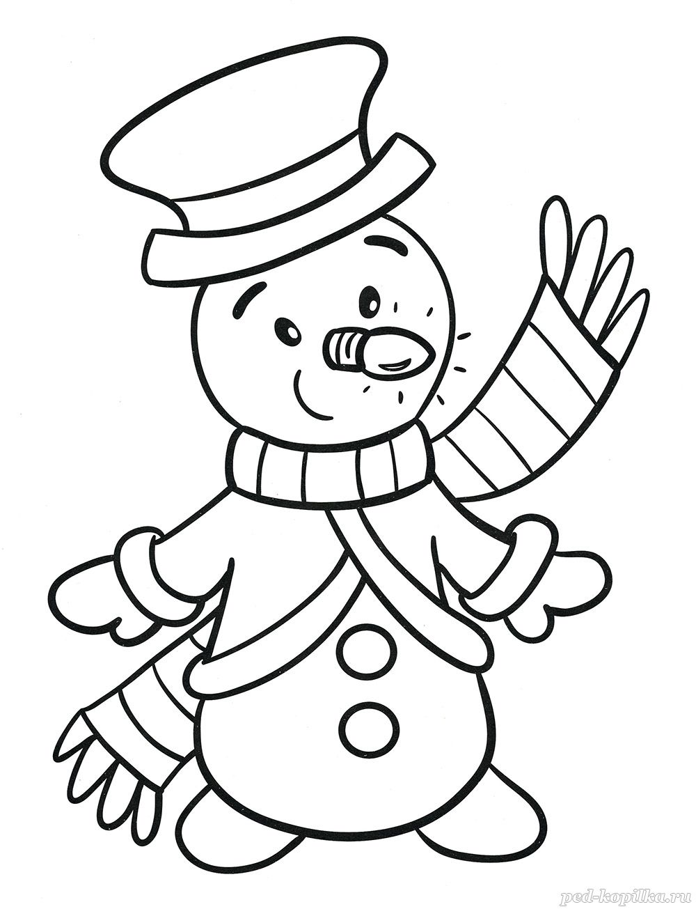 снеговик Раскраски распечатать бесплатно. | 1305x1000