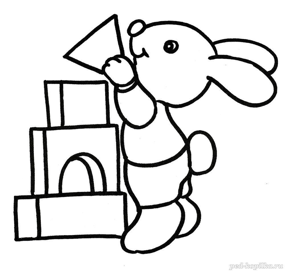 раскраска для детей от 3 лет зайчик