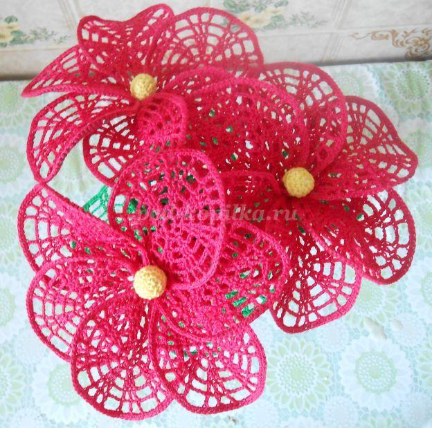 цветы связанные крючком мастер класс с пошаговым фото