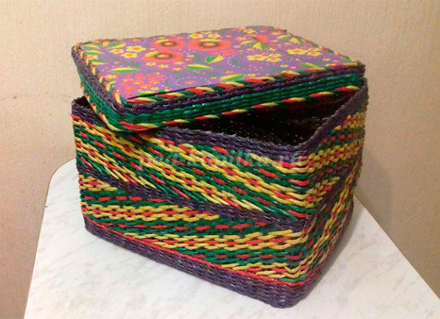 c6878de1e8bf Коробка для игрушек из газетных трубочек для начинающих