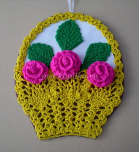 вязание крючком корзина с цветами
