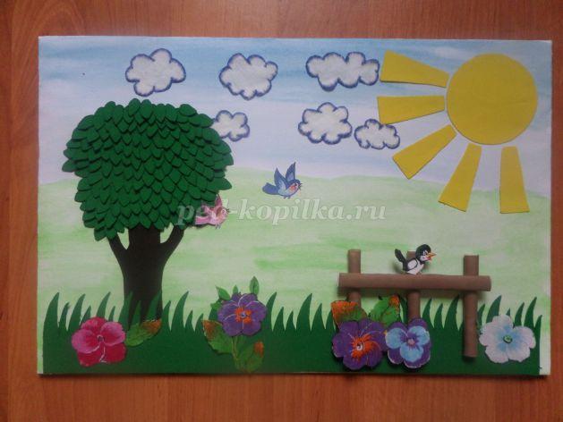 97c729ce0976 Аппликация из ткани для детского сада на тему Лето своими руками