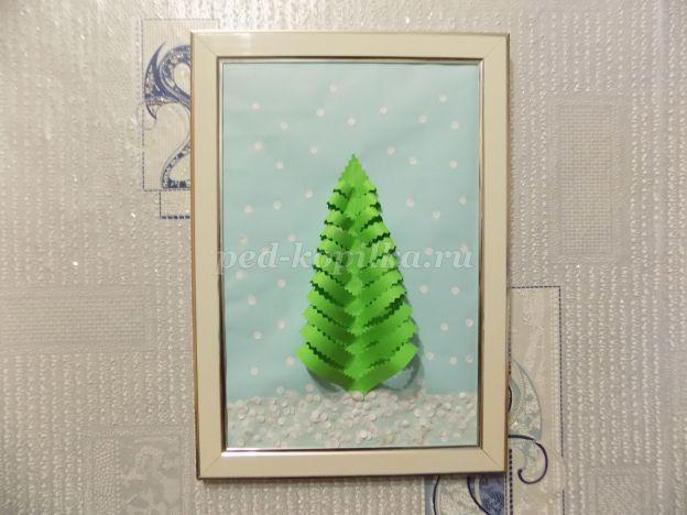 28930_88920d8a6c35d913ce1846b8225e0bda.jpg Объемная зимняя аппликация из цветной бумаги для детей 5-7 лет. Елочка зимой. Мастер-класс с пошаговым фото
