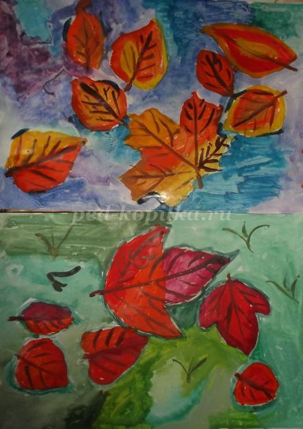 Осенние листья рисунки красками
