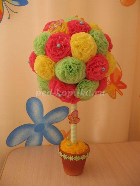 52963_29f0f629c38ffd06eb20380fe83e4088.jpg Топиарий из бумажных цветов, салфеток и роз