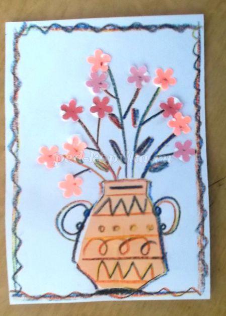 Открытка к 8 марта рисование в старшей группе, рисунки