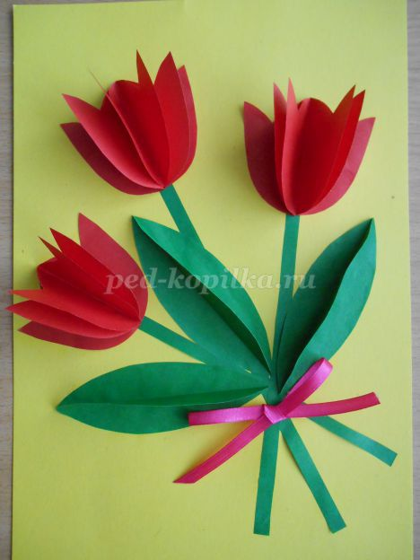Открытки с объемными тюльпанами своими руками