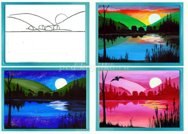 Как рисовать пейзаж ребенку 5 лет