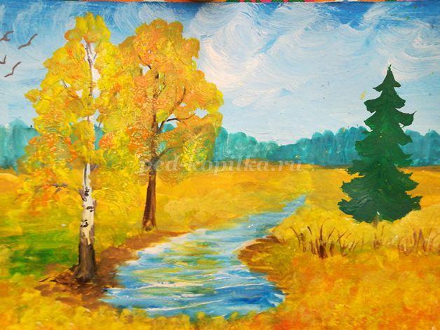 Как нарисовать пейзаж гуашью ПОЭТАПНО/ Рисуем летний пейзаж - YouTube | 471x628