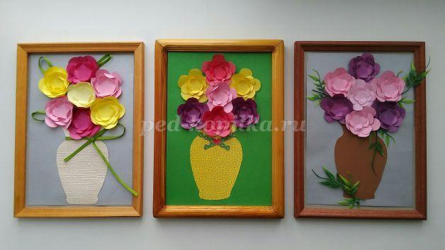 Аппликация из листьев ваза с цветами