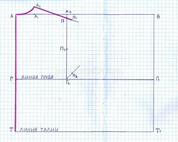 7494c8219b5 Ширина проймы. От А3 вправо отложите 1 4 полуобхвата груди плюс 1 см и  поставьте А4 (32