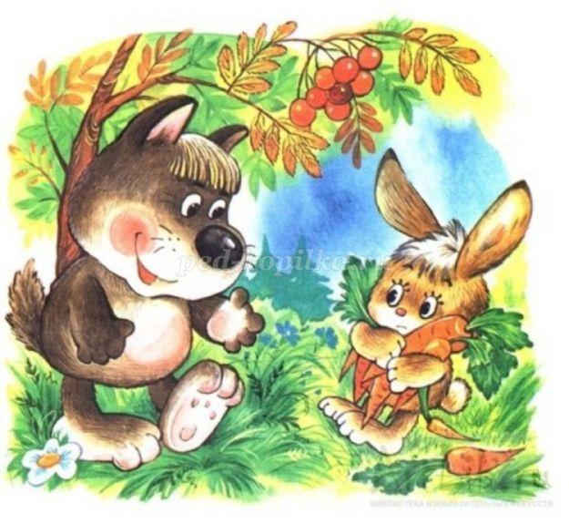 Картинки зайчик и волк