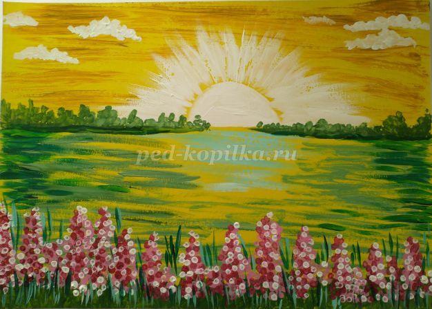Пейзаж гуашью купить в Краснодарском крае | Хобби и отдых | Авито | 447x626